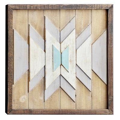 """30"""" x 30"""" Square Chevron Pattern Aqua White and Natural Wood Wall Art - Olivia & May"""