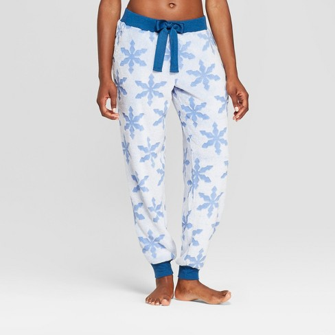 609a95930429 Women s Holiday Snowflake Super Soft Plush Pajama Pants - Blue   Target