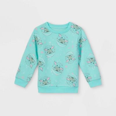 Toddler Girls' Star Wars Baby Yoda Fleece Crew Neck Pullover - Mint Green