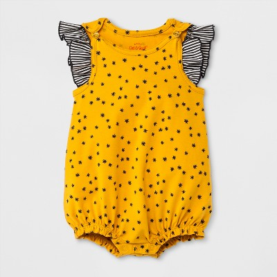 Baby Girls' Romper - Cat & Jack™ Yellow 3-6M