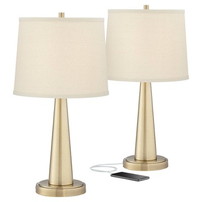 360 Lighting Modern Table Lamps Set of 2 with Hotel Style USB Charging Port Brass Beige Tapered Drum Shade for Living Room Family Bedroom