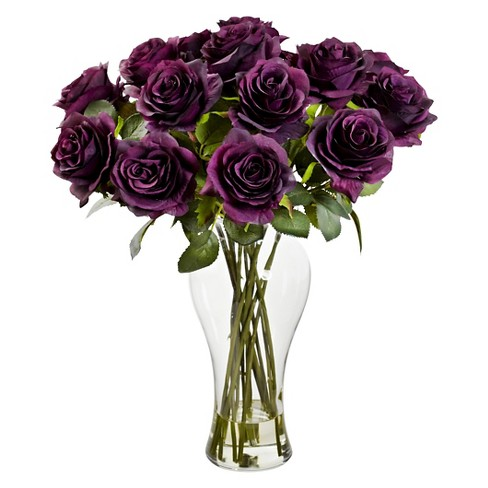 Blooming Roses With Glass Vase Purple Target