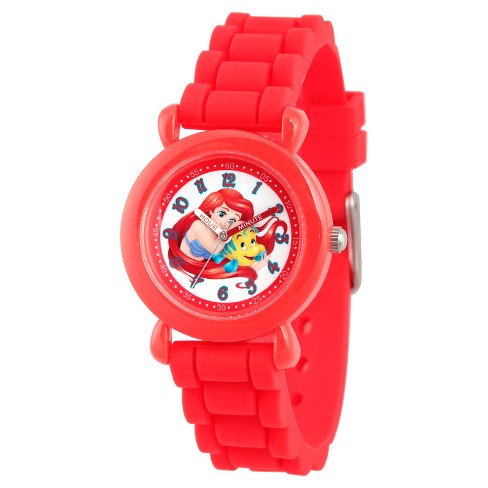 Disney Princess Ariel Girls' Red Plastic Time Teacher Watch, Red Silicone Strap, WDS000145 - image 1 of 2