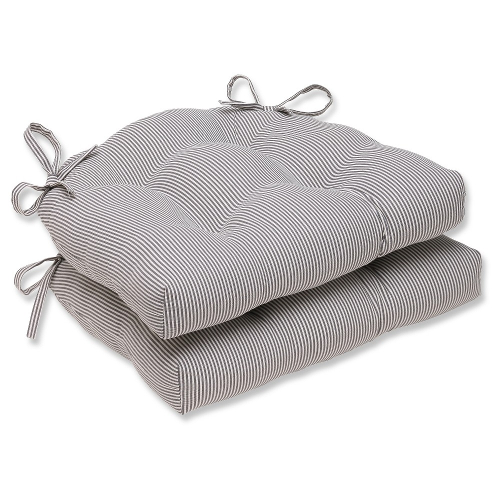 """Image of """"Gray Oxford Reversible Chair Pad (Set Of 2) (16.5""""""""X15.5"""""""") - Pillow Perfect"""""""