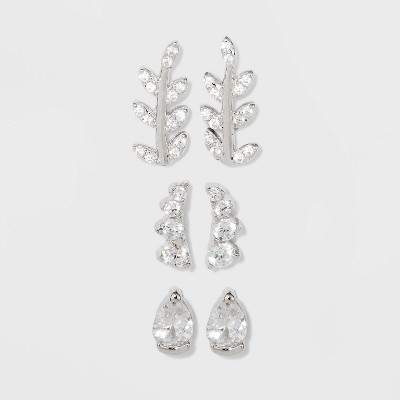 Sterling Silver Cubic Zirconia Leaf, Crawler and Teardrop Earring Set 3pc - A New Day™ Silver