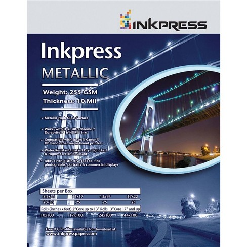 Inkpress Metallic Gloss Inkjet Paper, 255 gsm, 10 mil, Metallic Glossy Surface, 4x6 , 50 Sheets - image 1 of 1