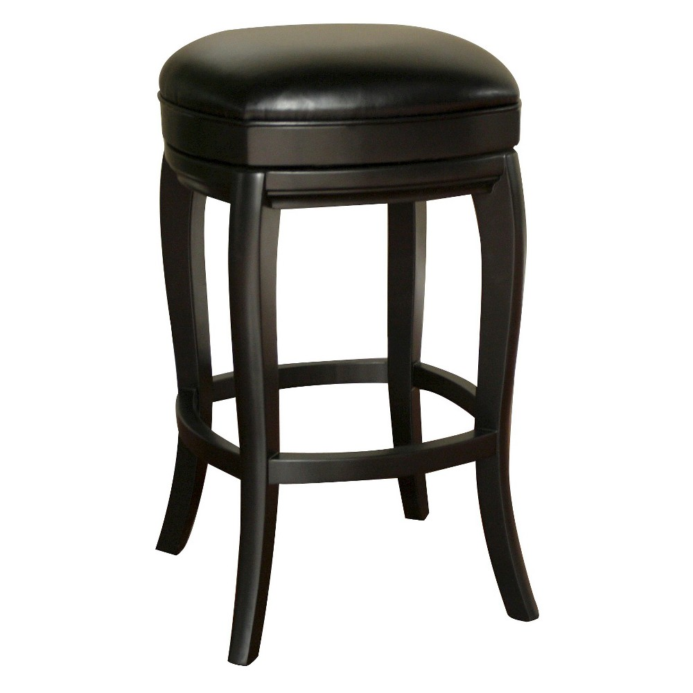 Madrid Bonded Leather Swivel 26 Counter Stool - Black