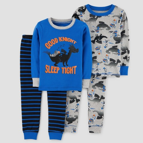 Toddler Boys' 4pc Good Knight Long Sleeve Cotton Pajama Set - Just One You™ Made by Carter's® Blue - image 1 of 1