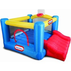 Little Tikes 630873C Junior Kids Sports 'n Slide Inflatable Outdoor Bounce House with Basketball Hoop, 3 Kid Capacity