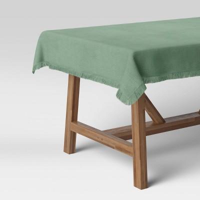 "50"" Cotton Leno Border Table Throw Green - Threshold™"