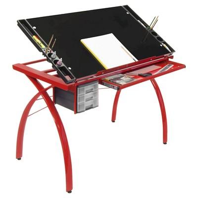Canvas & Color Adjustable Craft Station Red/Black Glass - Studio Designs