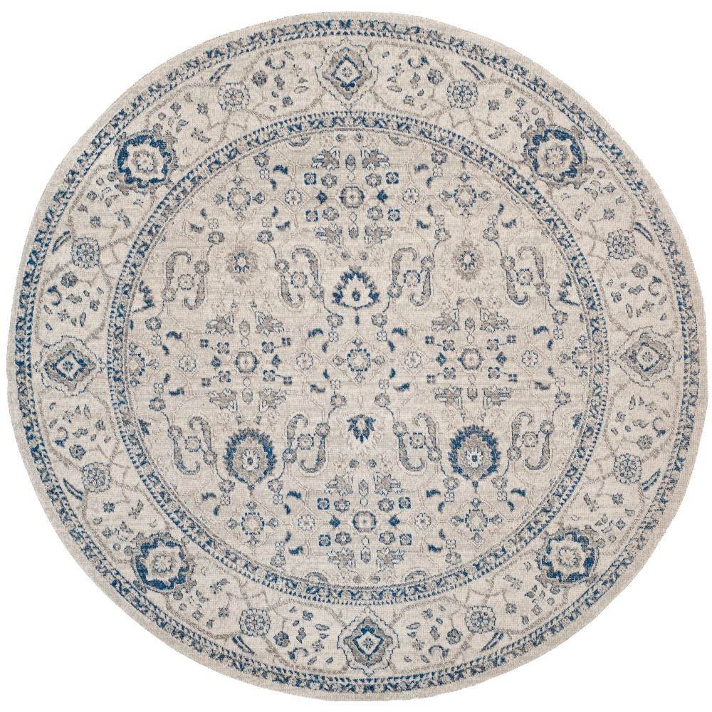 6'7 Floral Loomed Round Area Rug Light Gray/Ivory - Safavieh