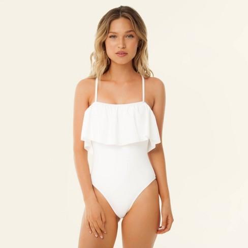 4b0137fcdba51 Women's Ruffle Flounce Bandeau One Piece Swimsuit - Sugar Coast By Lolli  White : Target