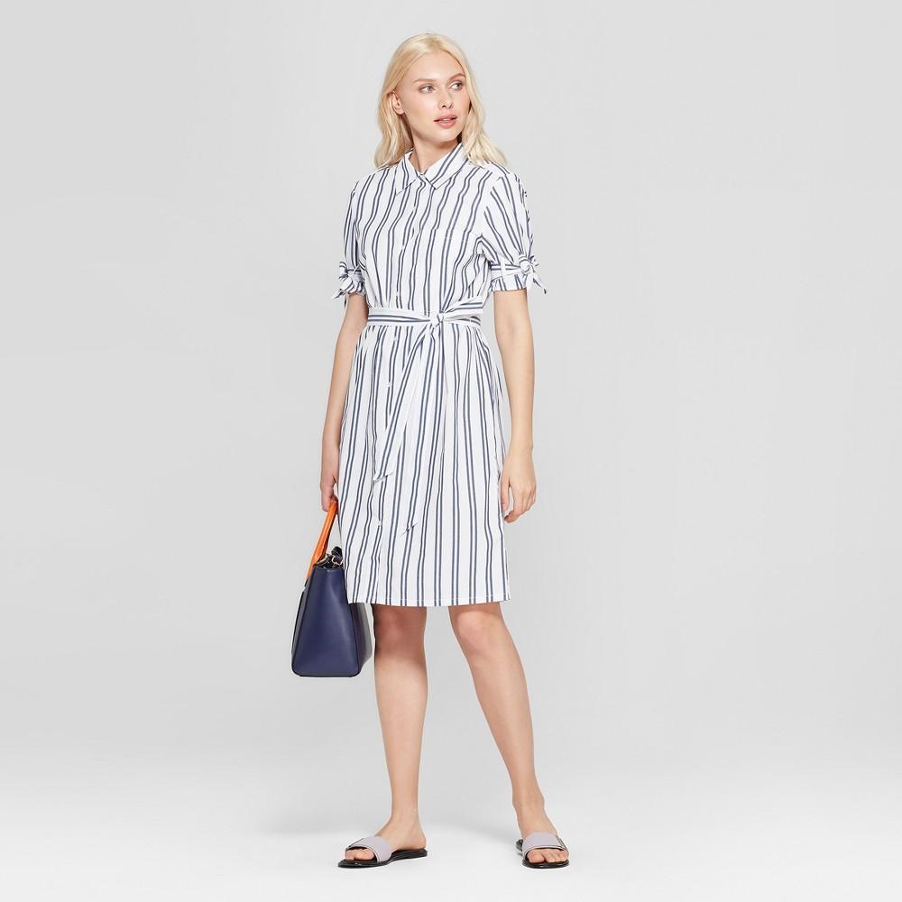 Women's Striped Short Sleeve Shirtdress - A New Day White/Blue Xxl