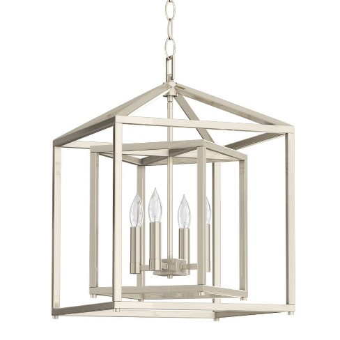 Park Harbor Phpl5114 17 Wide 4 Light Candle Style Chandelier With Lantern Shade Polished Nickel