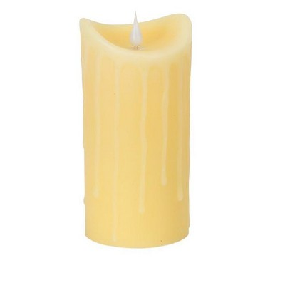 "Melrose 7"" Prelit LED Simplux Dripping Wax Flameless Pillar Candle with Moving Flame - Ivory"