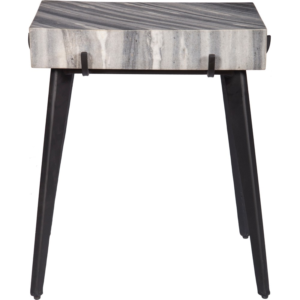 Marble And Iron Accent Table Gray - Treasure Trove