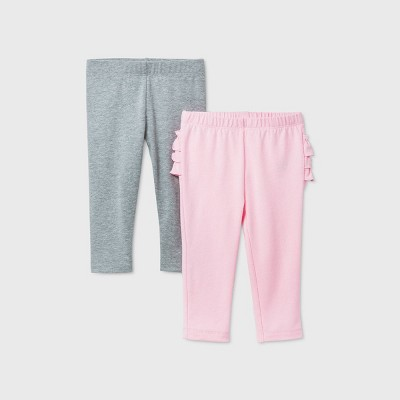 Baby Girls' 2pk Leggings - Cat & Jack™ Gray/Pink 0-3M