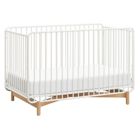 Babyletto Bixby 3-in-1 Convertible Metal Crib with Toddler Bed Conversion Kit - Warm White/Natural Beech - image 1 of 4