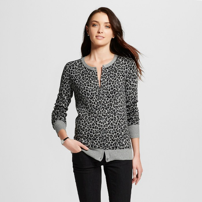 Women's Favorite Cardigan Long Sleeve Animal Print Grey XS - Merona™ - image 1 of 2