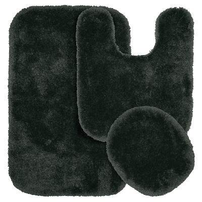 Garland 3 Piece Finest Luxury Ultra Plush Washable Nylon Bath Rug Set - Dark Gray