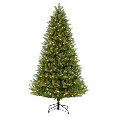 7.5ft Pre-lit Artificial Christmas Tree Full Geneva Fir - Puleo