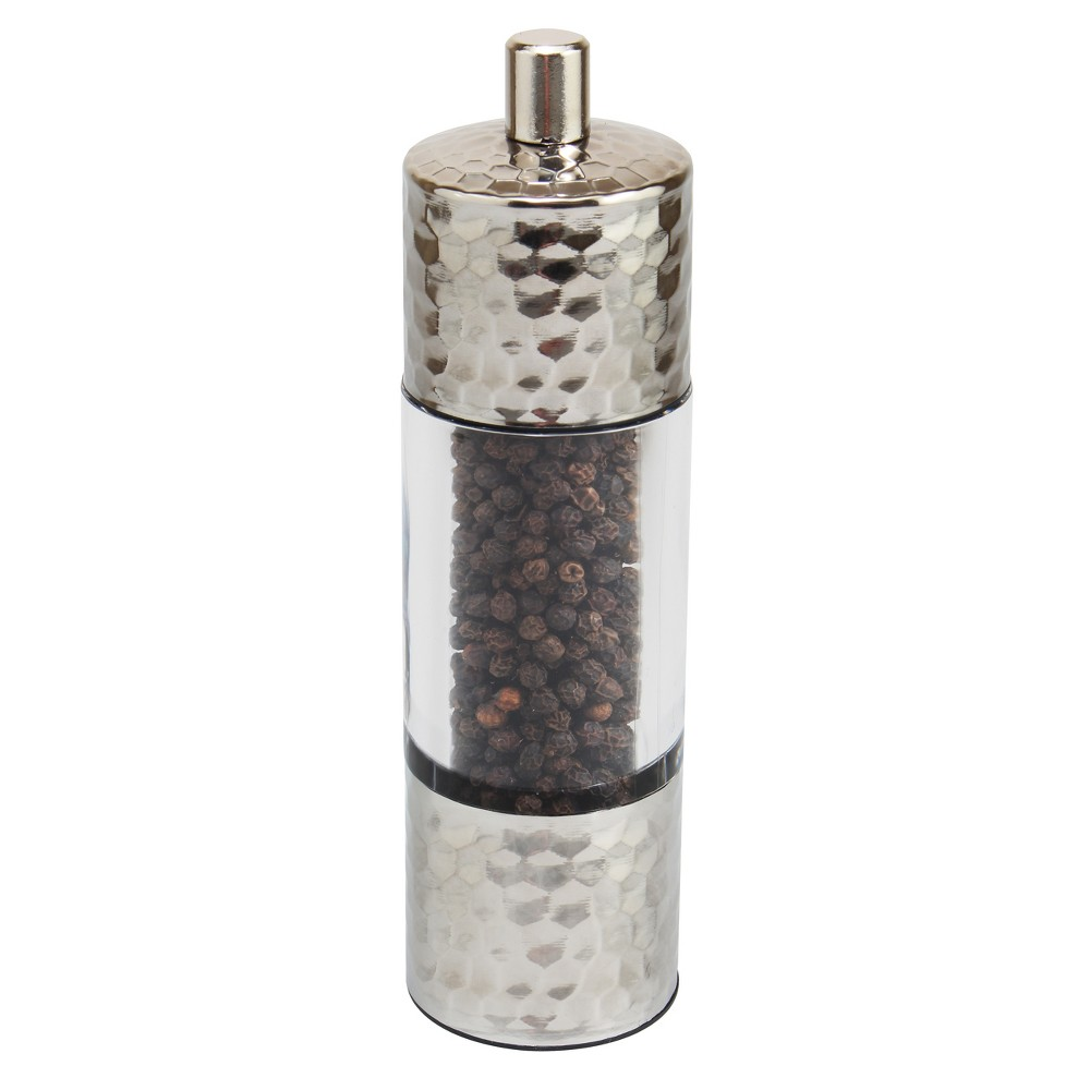 "Image of ""Olde Thompson 7"""" Hamilton Hammered Stainless Steel Pepper Mill, Silver"""
