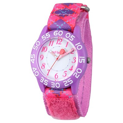 Girls' Red Balloon Purple Plastic Time Teacher Watch - Pink