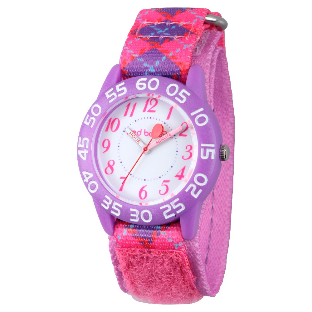 Image of Girls' Red Balloon Purple Plastic Time Teacher Watch - Pink, Girl's