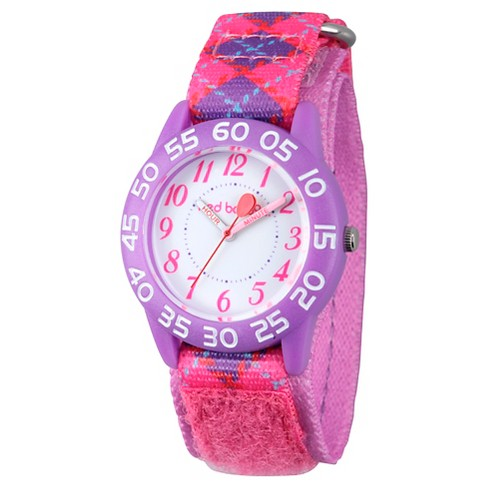 Girls' Red Balloon Purple Plastic Time Teacher Watch - Pink - image 1 of 2