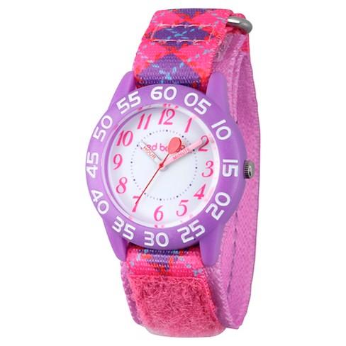 Girls' Red Balloon Purple Plastic Time Teacher Watch - Pink - image 1 of 2