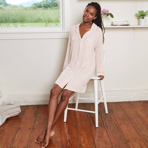 Women's Striped Beautifully Soft Notch Collar Nightgown - Stars Above™ Rose - image 1 of 3