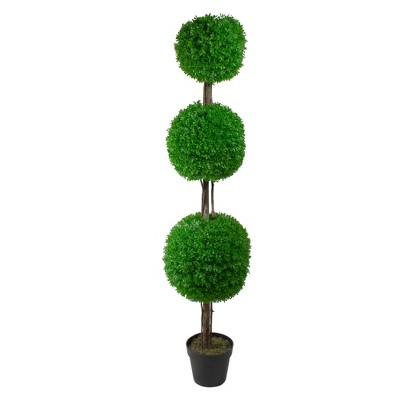 """Northlight 60"""" Triple Sphere Artificial Boxwood Topiary Potted Plant"""