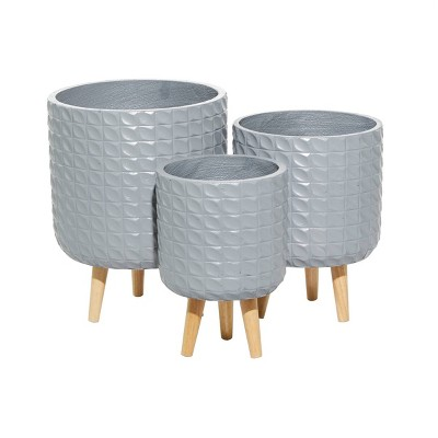 Set of 3 Contemporary Wood Grid Patterned Planters Gray - Olivia & May