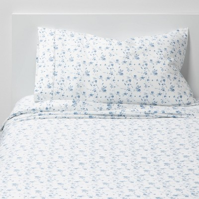 Twin/Twin XL 400 Thread Count Printed Pattern Performance Sheet Set Blue Floral - Threshold™