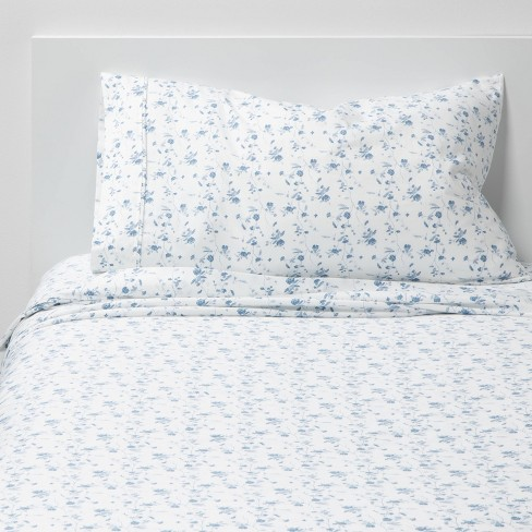 Twin/Twin XL 400 Thread Count Printed Pattern Performance Sheet Set Blue Floral - Threshold™ - image 1 of 4