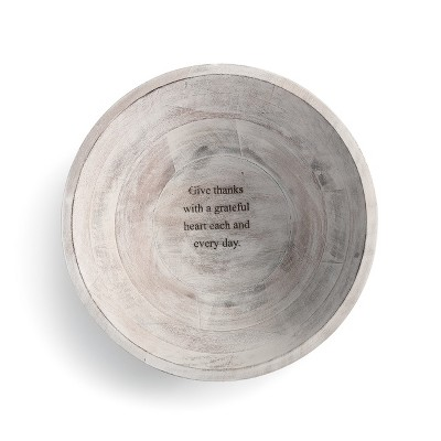 DEMDACO Give Thanks Wood Serving Bowl 11 x 11 - White