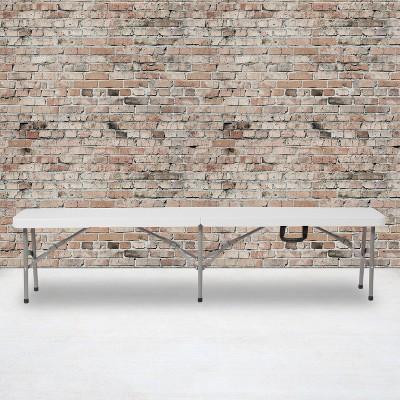 "Emma and Oliver 11""W x 72""L Portable Bi-Fold Granite White Folding Bench"