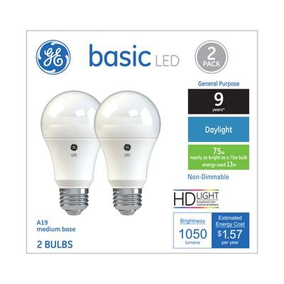 General Electric 2pk 75W Ca Basic LED Light Bulb Dl Non Dimming Reg Life