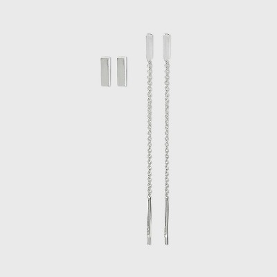 Sterling Silver Bar Stud and Chain Threader Earring Set - A New Day™ Silver
