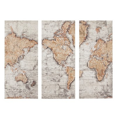 15 X35  Map of The World Printed Canvas Natural