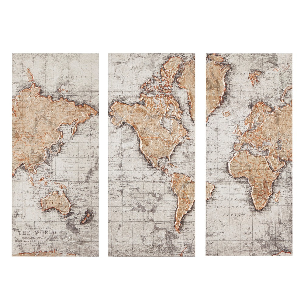 """Image of """"15""""""""X35"""""""" Map of The World Printed Canvas Natural, White"""""""