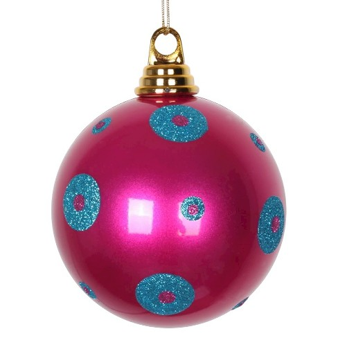 4ct Cerise/Turquoise Polka Dot Candy Ball Christmas Ornament Set - image 1 of 1