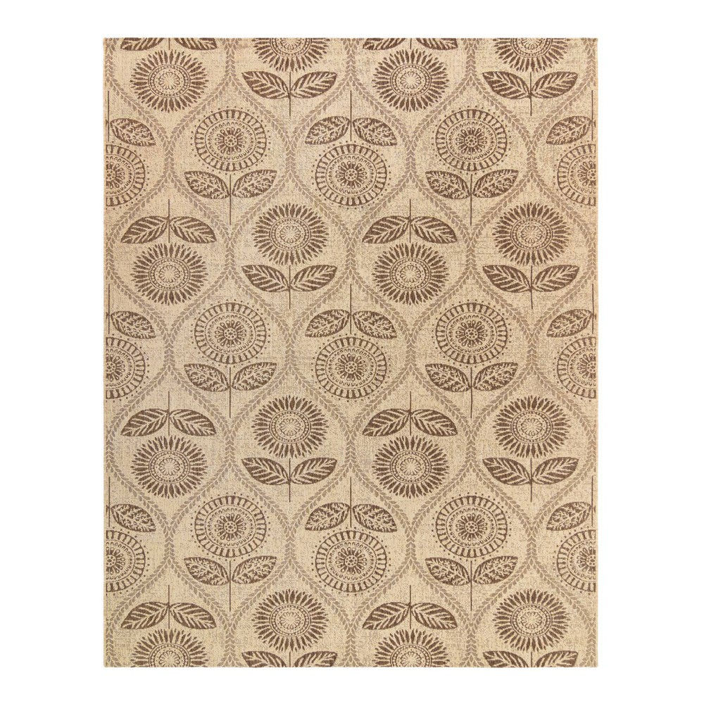 Image of 5'x7' Sunflower Trellis Outdoor Rug Brown - Laura Ashley