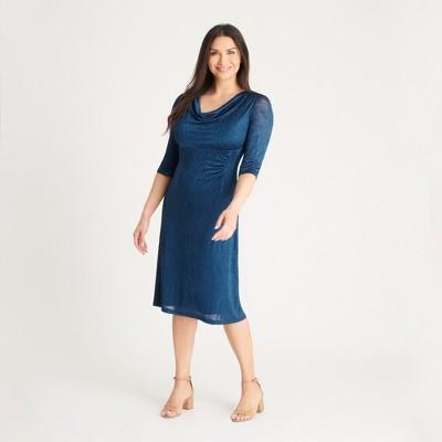 Women's Teal Burnout Knit Midi Dress - Connected Apparel