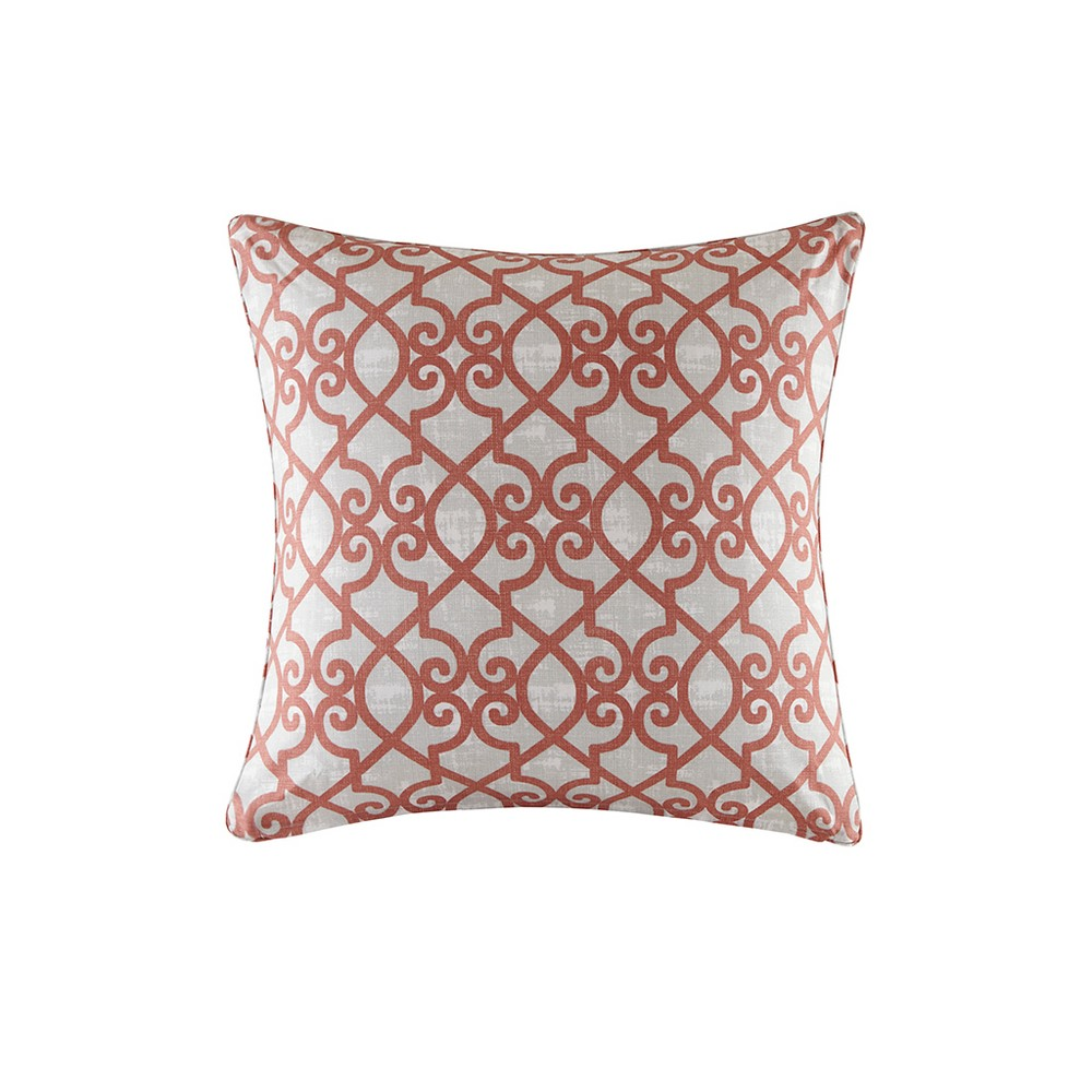 Pismo Printed Fretwork 3M Scotchgard Outdoor Pillow Coral - 20x20, Coral Red