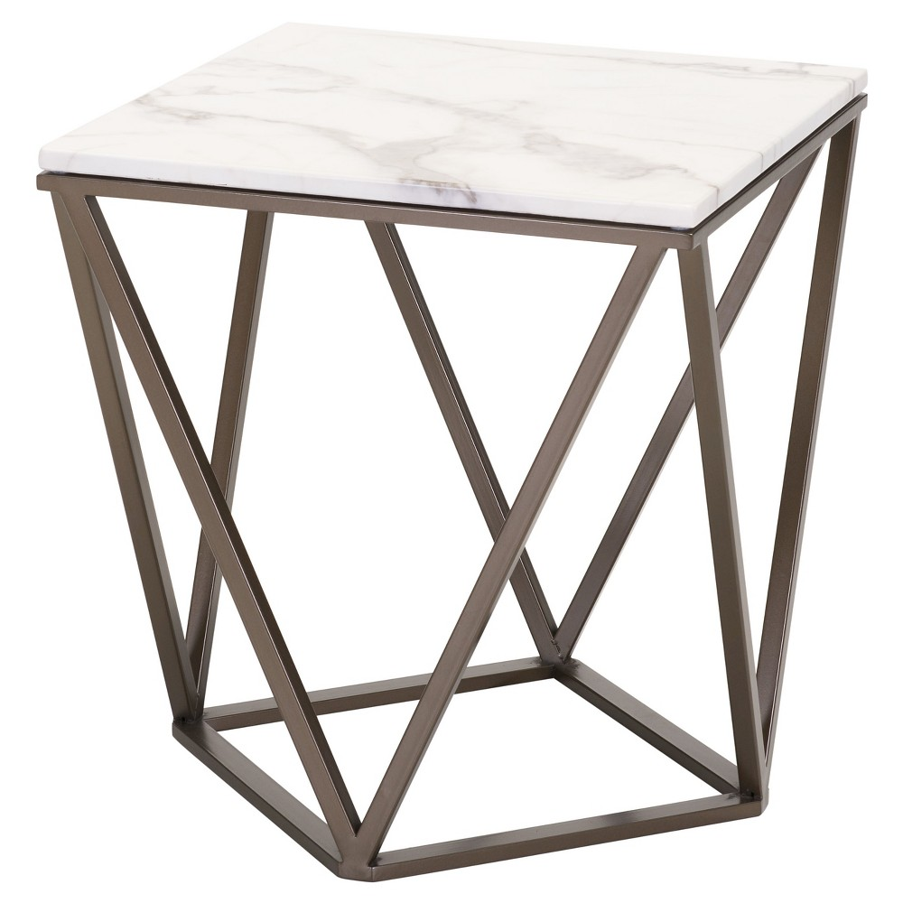 Modern Faux Marble 20 End Table - Antique Brass - ZM Home, Stone And Antique Brass