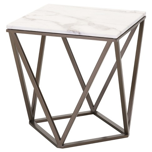"""Modern Faux Marble 20"""" End Table - Antique Brass - ZM Home - image 1 of 4"""