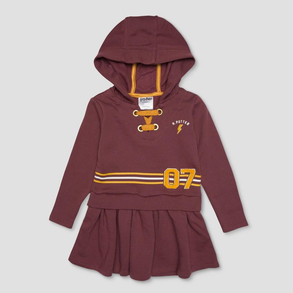Toddler Girls' Harry Potter Stripe Varsity 7 Dress - Rust 2T, Red