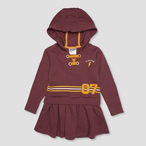 15fbfbe110a Toddler Girls  Harry Potter Stripe Varsity 7 Dress - Rust   Target